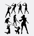 Warrior girl with sword silhouette vector image vector image