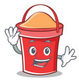 waving bucket character cartoon style vector image vector image