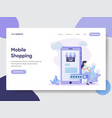 woman on mobile doing online shopping vector image vector image