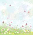 Summer background floral meadow with pink vector image