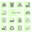 14 pollution icons vector image vector image