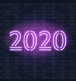 2020 new year concept with colorful neon lights vector image vector image