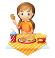 A pretty girl eating at the fastfood restaurant vector image vector image
