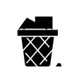 bin paper - office garbage icon vector image