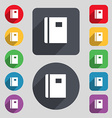 Book icon sign A set of 12 colored buttons and a vector image vector image