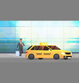 businessman using mobile app ordering taxi on vector image vector image