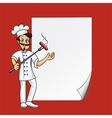 cartoon cook blank paper vector image vector image