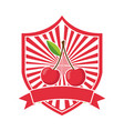 cherry fresh healthy food emblem vector image vector image