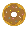 Chocolate glazed donut cartoon vector image