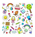 colored children drawings pattern vector image