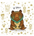 Cute indian bear with text be brave vector image vector image