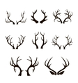 deer antlers silhouette isolated on white vector image vector image