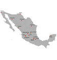 detailed map of the mexico vector image vector image