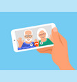 family online video call smartphone vector image