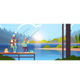 father and son fishing together from pier man with vector image