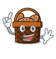 finger bread basket mascot cartoon vector image