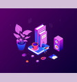 freelance worker - modern colorful isometric vector image