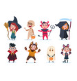 halloween kids cartoon children in halloween vector image