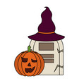 halloween pumpkin with hat witch and tomb vector image vector image