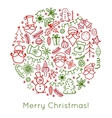 Hand drawn Christmas greeting card with Santa vector image vector image