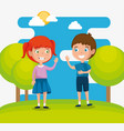 happy kids couple characters vector image