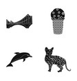home animal design and other web icon in black vector image