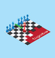 isometric red and blue chess pieces on chessboard vector image vector image
