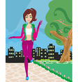 Jogging girl in the city vector image vector image