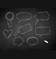 line art grunge chalk drawn speech bubbles vector image vector image