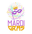 mardi gras party mask greeting card vector image vector image