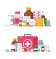 medicine pharmacy bottles vector image vector image