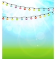 Multicolored Garland Lamp Bulbs Festive on Natural vector image