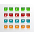 music player button square in 4 colour vector image
