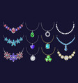 necklace icon set realistic style vector image