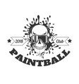 paintball club 2018 monochrome logotype with skull vector image vector image