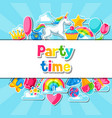 party time card with unicorn and fantasy items vector image vector image