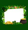 patricks day leprechaun gold and shamrock frame vector image vector image