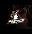 penguin mafia mascot sport logo design vector image vector image