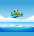 pilot riding plane over sea vector image vector image