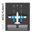 Plane on the runway at the airport Top view vector image