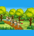 scene with kids scouting forest vector image vector image