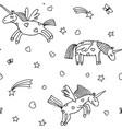 seamless pattern from cartoon unicorns vector image