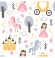 seamless pattern with a cute princess vector image