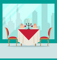 served table in restaurant in flat style cafe vector image vector image