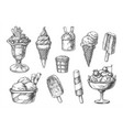 set isolated ice cream sketch ice-cream vector image