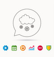 snow icon snowflakes with cloud sign vector image