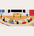 students sit in classroom and learn school vector image