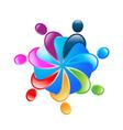 Teamwork 7 people around world logo vector image vector image