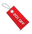 Twenty Percent Off Red Discount Sale Paper Label vector image vector image