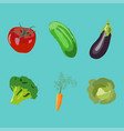 vegetables icons flat set isolated vector image vector image